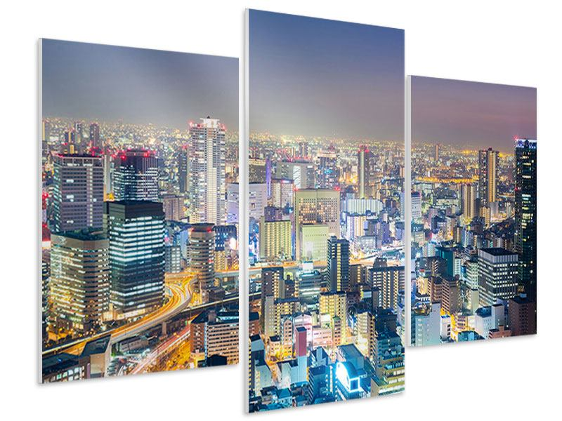 Hartschaumbild 3-teilig modern Skyline Osaka bei Sonnenuntergang