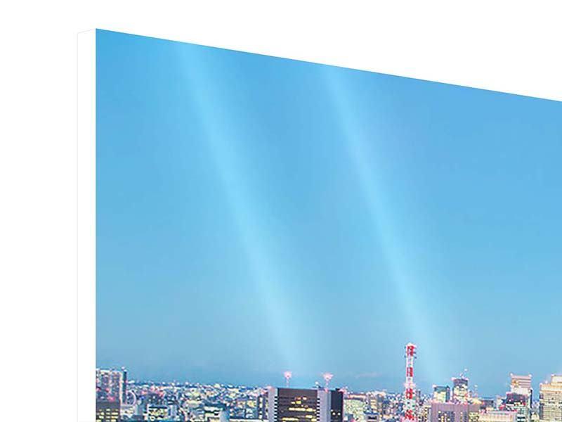 Hartschaumbild 3-teilig modern Skyline Tokio im Lichtermeer