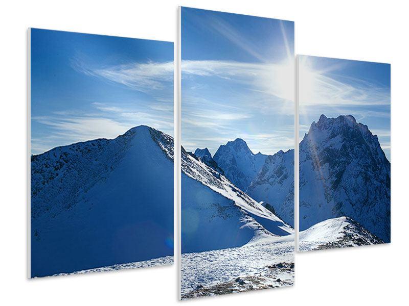 Hartschaumbild 3-teilig modern Der Berg im Schnee