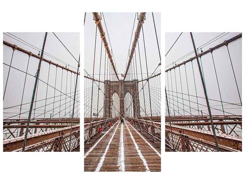 Hartschaumbild 3-teilig modern Auf der Brooklyn Bridge