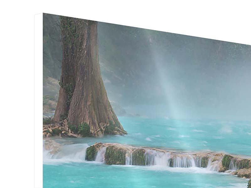 Hartschaumbild 3-teilig modern Haus am Wasserfall