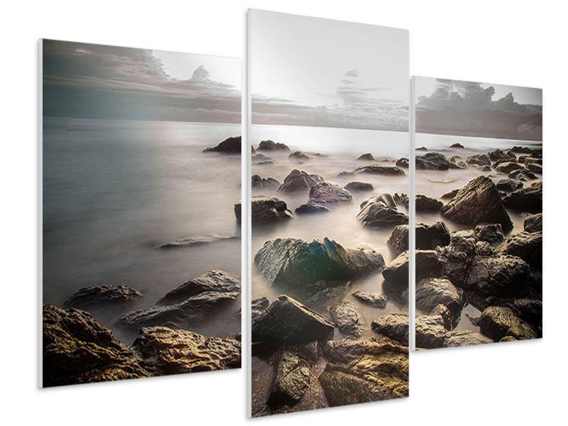 Hartschaumbild 3-teilig modern Steine am Strand