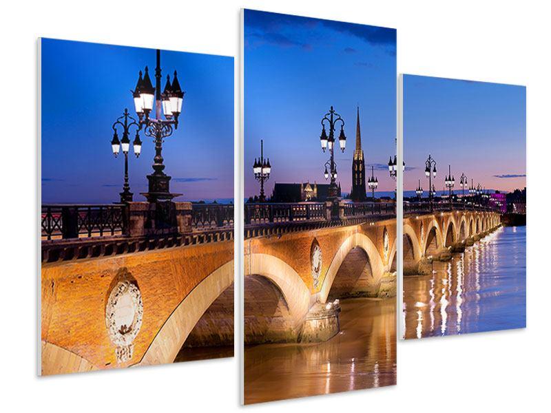 Hartschaumbild 3-teilig modern Pont De Pierre bei Sonnenuntergang