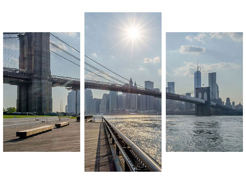 Hartschaumbild 3-teilig modern Brooklyn Bridge