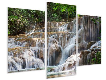 Hartschaumbild 3-teilig modern Mexikanischer Wasserfall