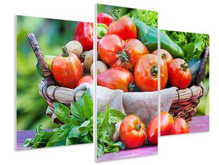 Hartschaumbild 3-teilig modern Gemüsekorb