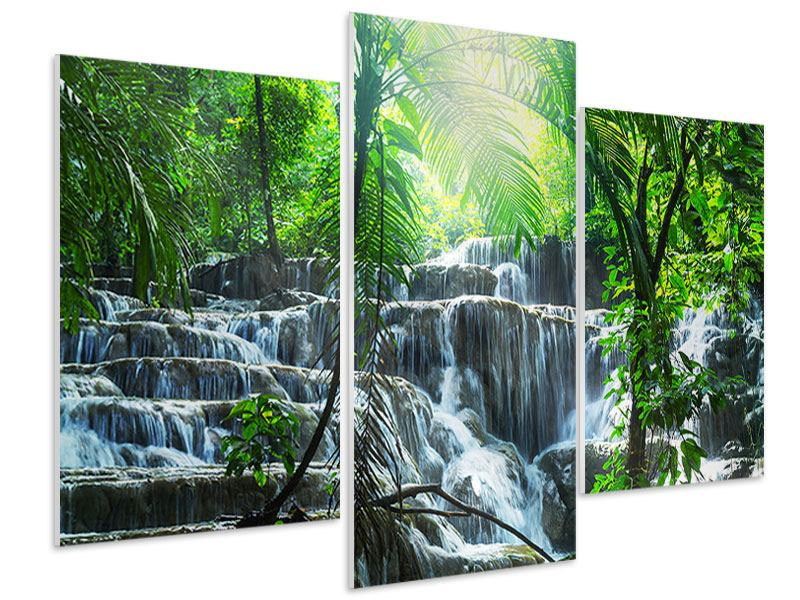 Hartschaumbild 3-teilig modern Wasserfall Agua Azul