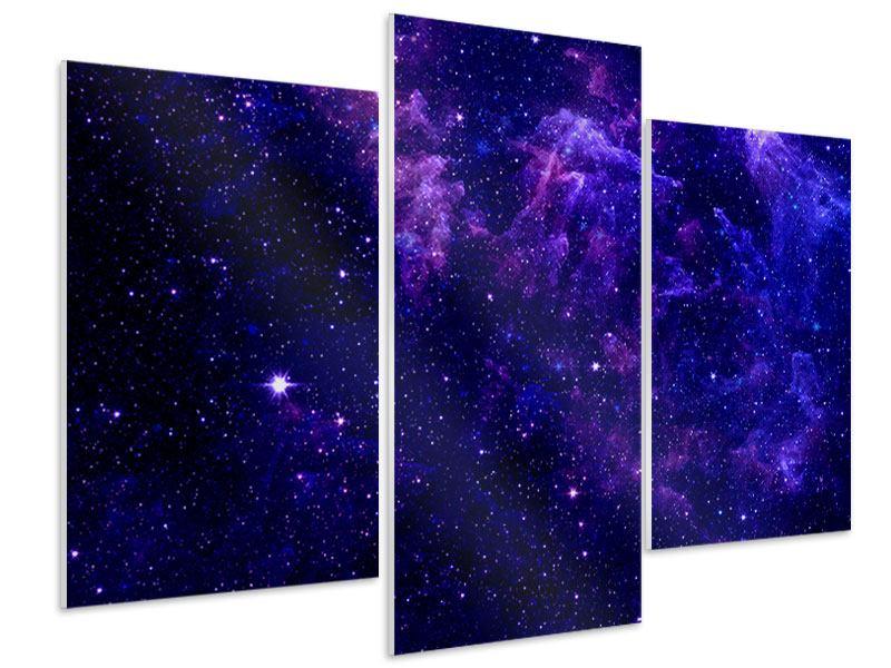 Hartschaumbild 3-teilig modern Ein Himmel voll Sterne