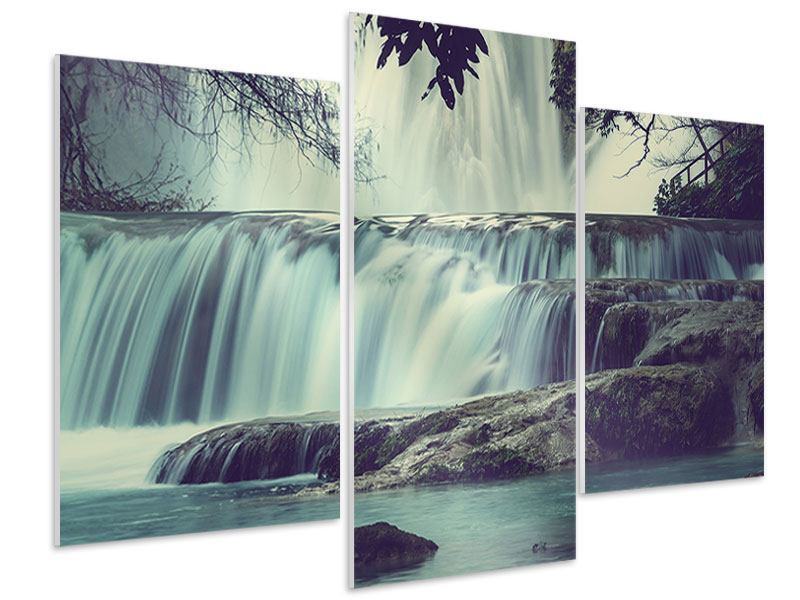 Hartschaumbild 3-teilig modern Wasserfall Mexiko