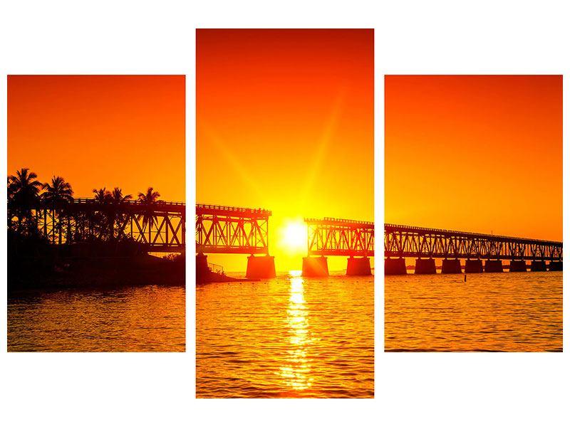 Hartschaumbild 3-teilig modern Sonnenuntergang an der Brücke