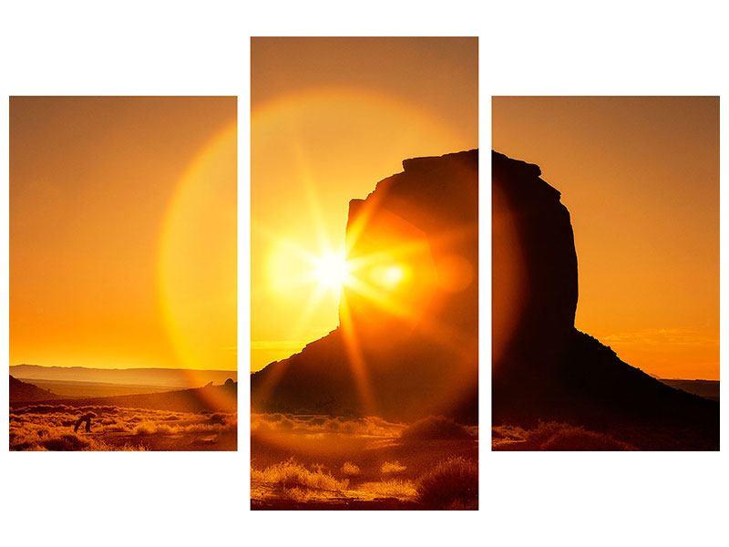 Hartschaumbild 3-teilig modern Sonnenuntergang Monument Valley