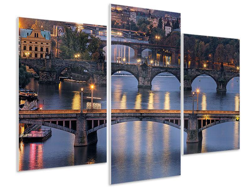 Hartschaumbild 3-teilig modern Brücken in Prag