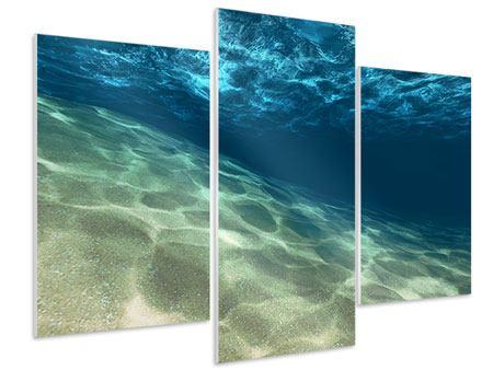 Hartschaumbild 3-teilig modern Unter dem Wasser