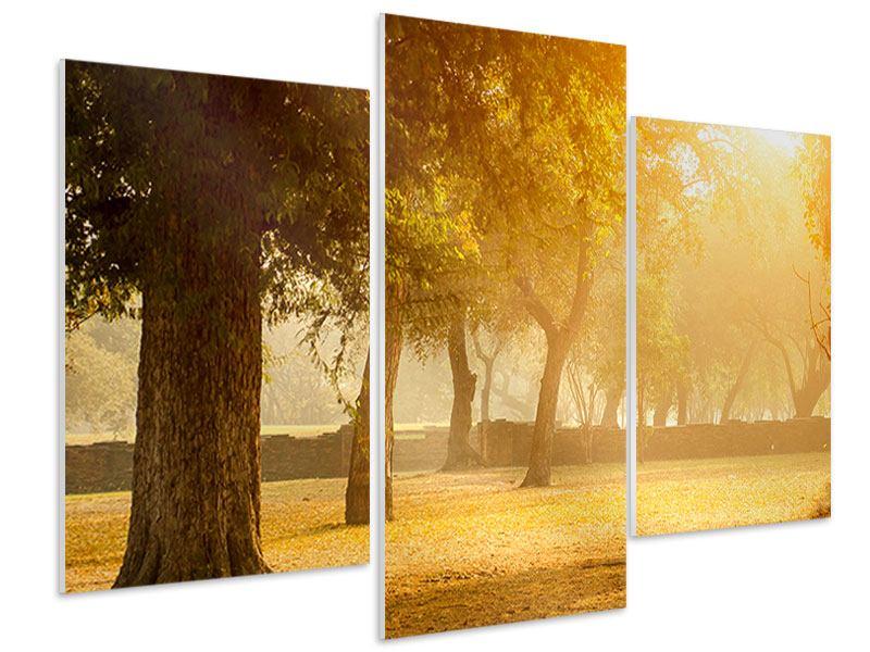 Hartschaumbild 3-teilig modern Romantik unter Bäumen