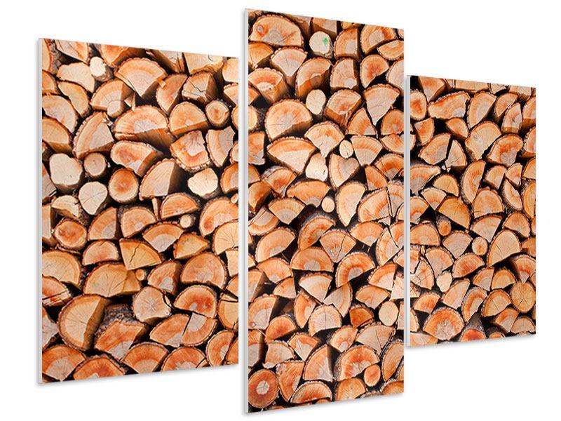 Hartschaumbild 3-teilig modern Birkenstapel