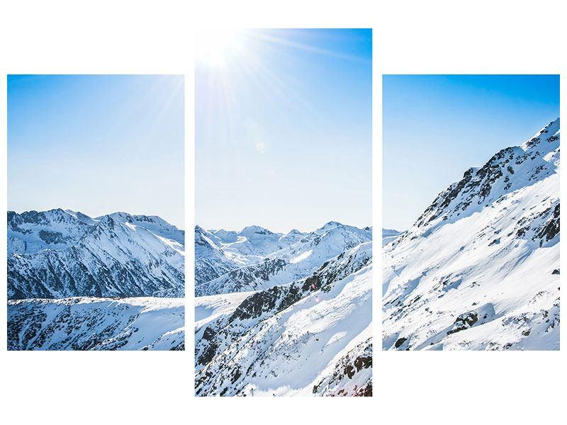 Hartschaumbild 3-teilig modern Bergpanorama im Schnee