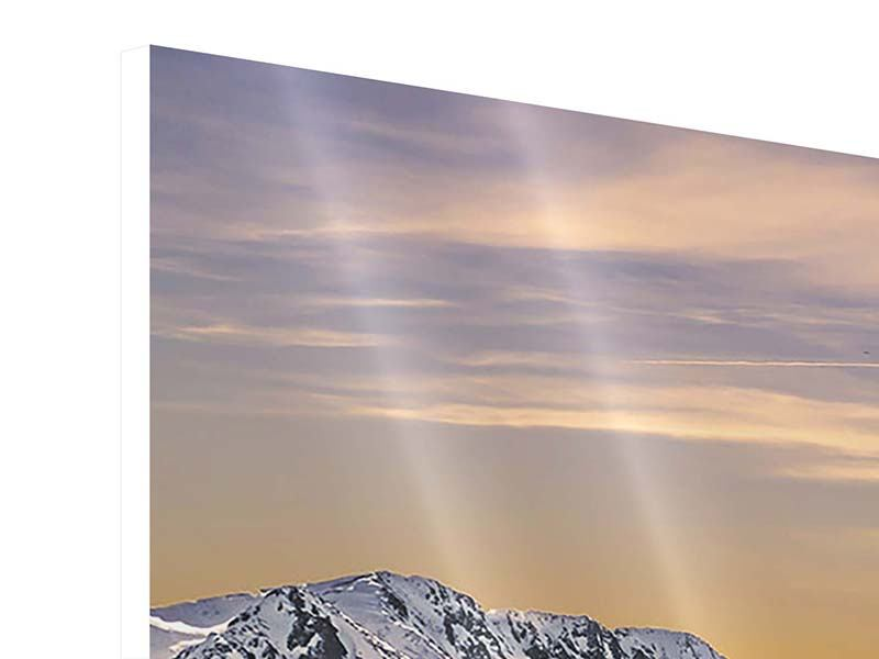 Hartschaumbild 3-teilig modern Sonnenuntergang in den Bergen