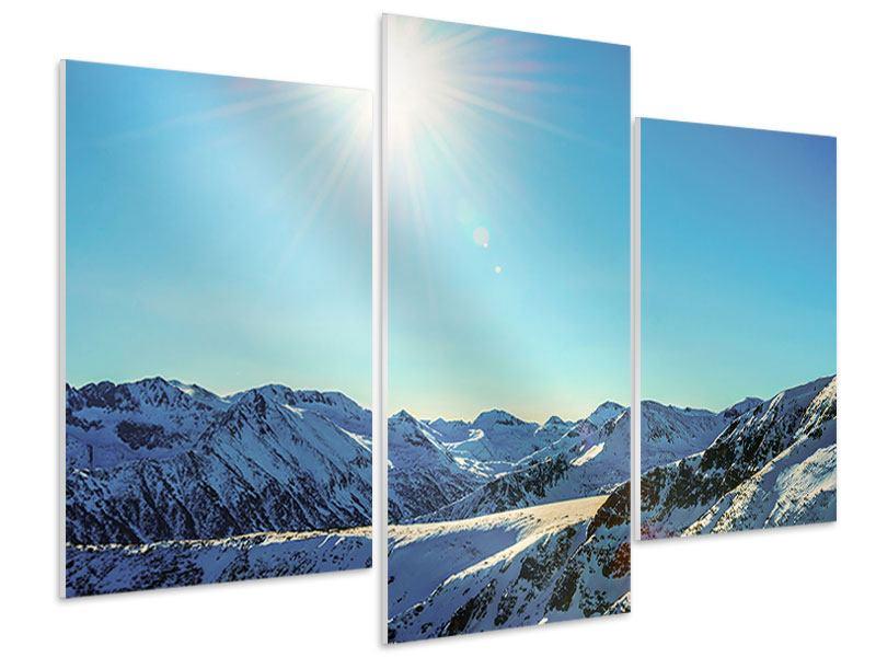 Hartschaumbild 3-teilig modern Sonnige Berggipfel im Schnee