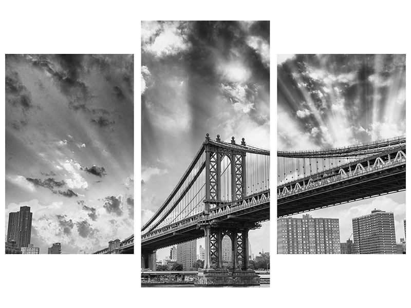 Hartschaumbild 3-teilig modern Manhattan Bridge
