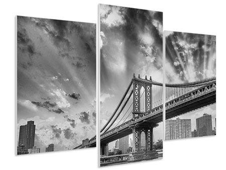 Hartschaumbild 3-teilig modern Manhattan Bridge