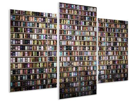 Hartschaumbild 3-teilig modern Bücherregal