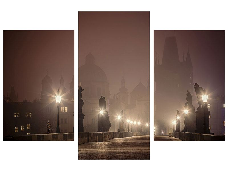 Hartschaumbild 3-teilig modern Die Karlsbrücke bei Nacht