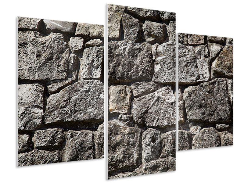 Hartschaumbild 3-teilig modern Grosses Mauerwerk