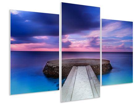 Hartschaumbild 3-teilig modern Meditation am Meer