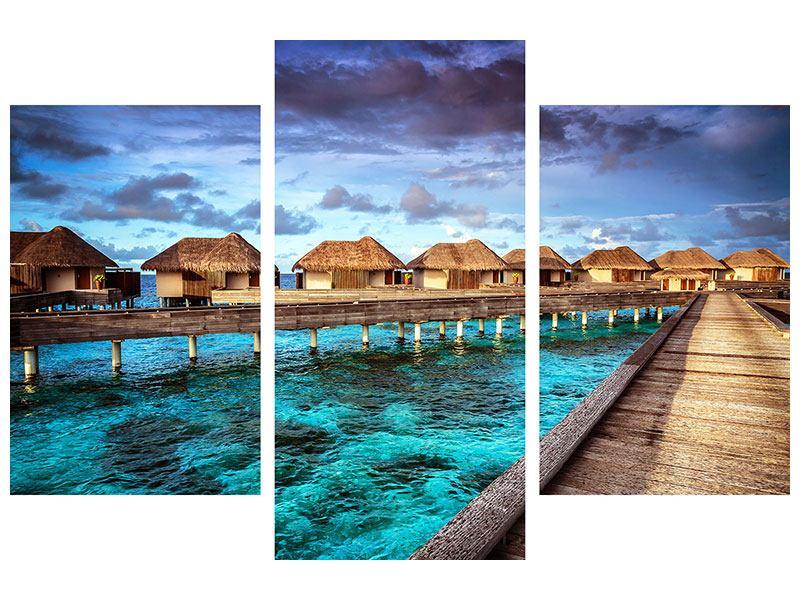 Hartschaumbild 3-teilig modern Traumhaus im Wasser