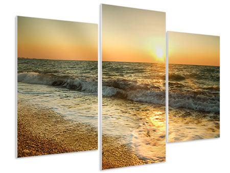 Hartschaumbild 3-teilig modern Sonnenuntergang am Meer
