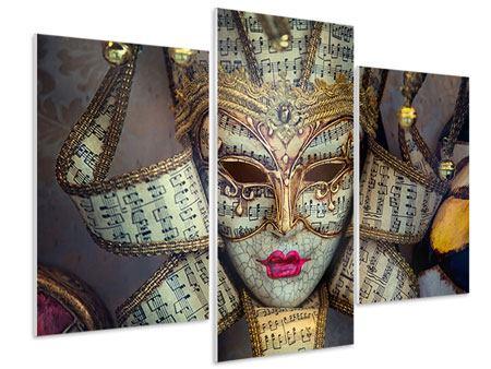 Hartschaumbild 3-teilig modern Venezianische Maske