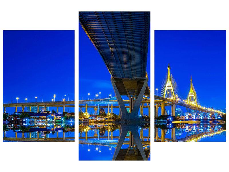 Hartschaumbild 3-teilig modern Bhumiboll-Brücke