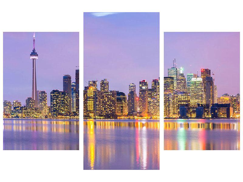 Hartschaumbild 3-teilig modern Skyline Toronto bei Nacht