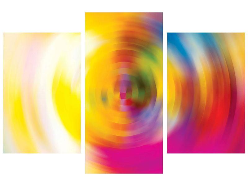 Hartschaumbild 3-teilig modern Abstrakte Farbkreise
