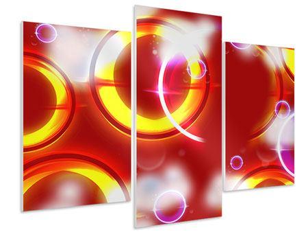 Hartschaumbild 3-teilig modern Abstraktes Retro