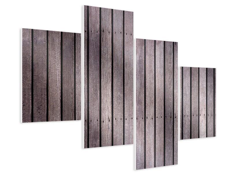 Hartschaumbild 4-teilig modern Holzwand