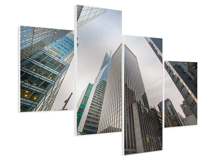 Hartschaumbild 4-teilig modern Hochhäuser
