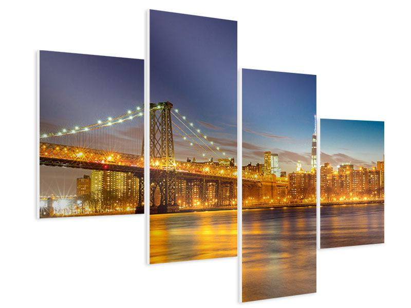 Hartschaumbild 4-teilig modern Skyline NY Williamsburg Bridge