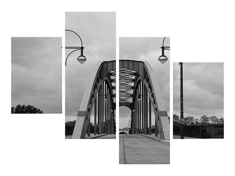 Hartschaumbild 4-teilig modern Poetische Brücke