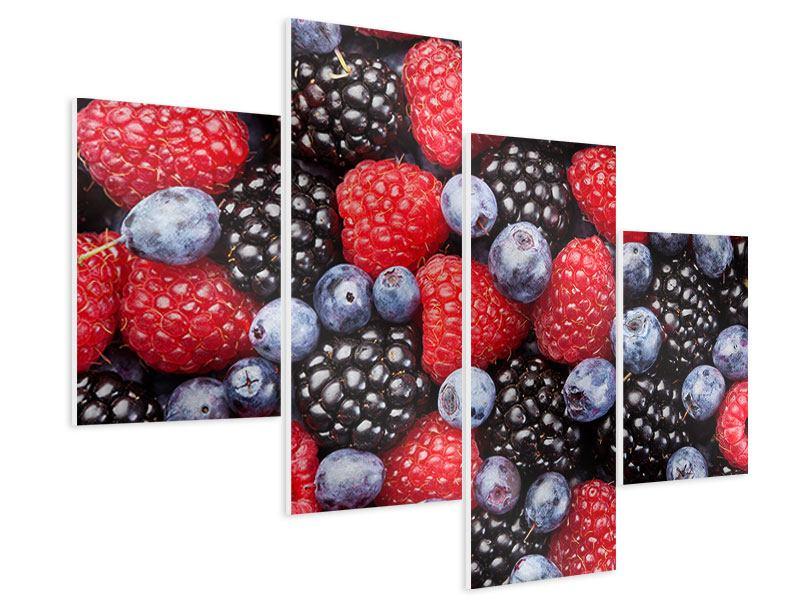 Hartschaumbild 4-teilig modern Beeren