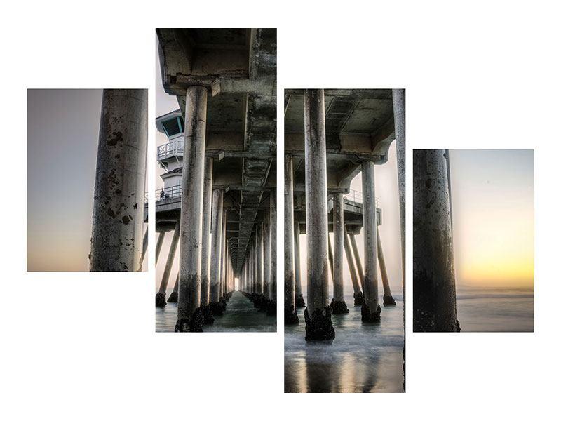 Hartschaumbild 4-teilig modern Brückenpfeiler