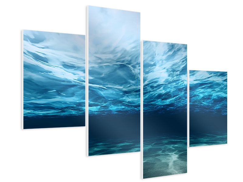 Hartschaumbild 4-teilig modern Lichtspiegelungen unter Wasser