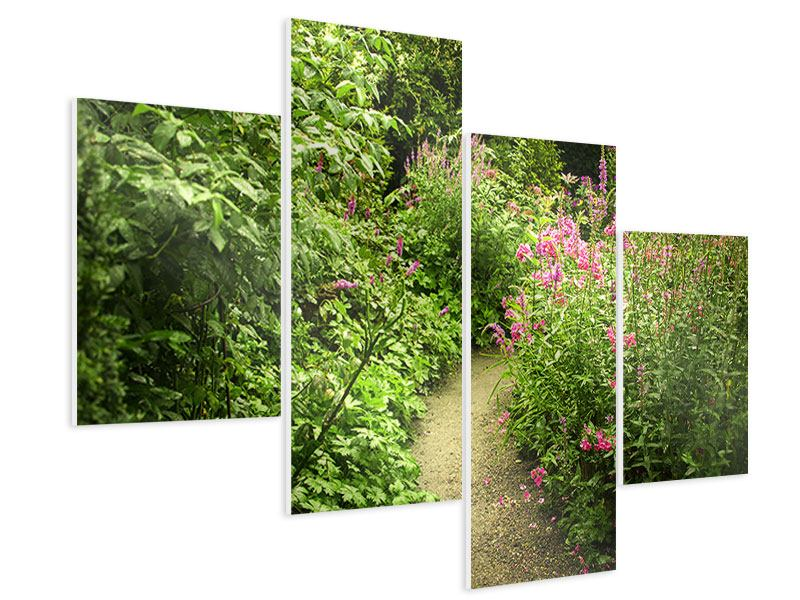 Hartschaumbild 4-teilig modern Gartenweg