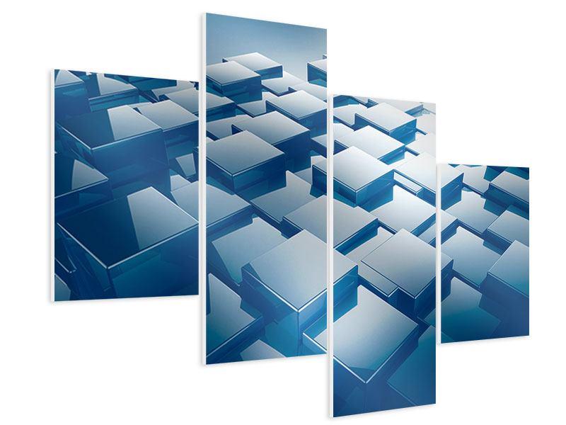 Hartschaumbild 4-teilig modern 3D-Cubes