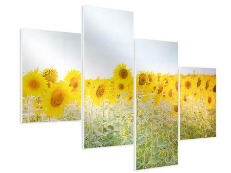 Hartschaumbild 4-teilig modern Im Sonnenblumenfeld
