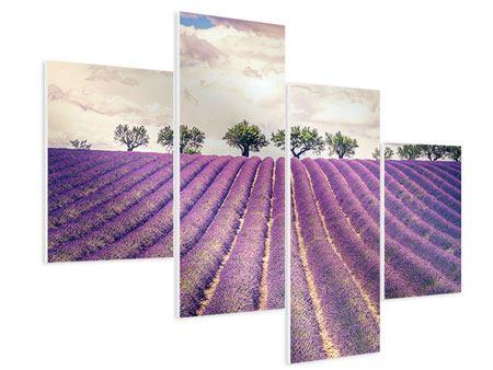 Hartschaumbild 4-teilig modern Das Lavendelfeld
