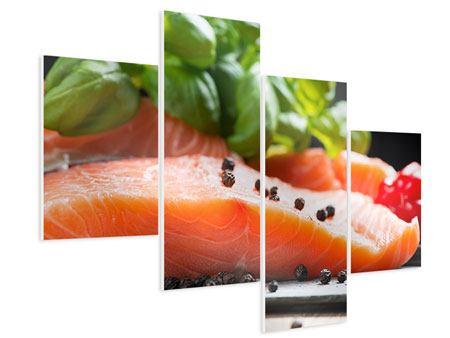 Hartschaumbild 4-teilig modern Frischer Fisch
