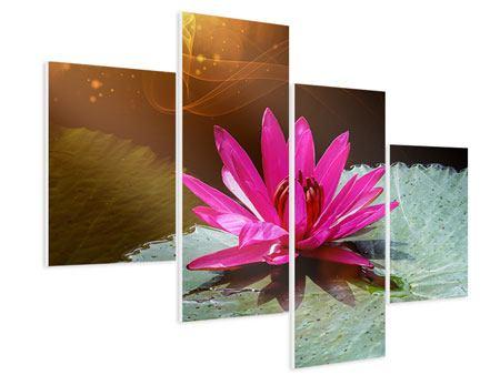 Hartschaumbild 4-teilig modern Der Frosch und das Seerosenblatt