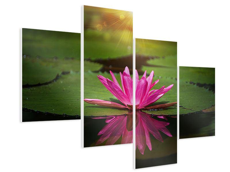 Hartschaumbild 4-teilig modern Lilienspiegelung