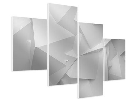 Hartschaumbild 4-teilig modern 3D-Raster